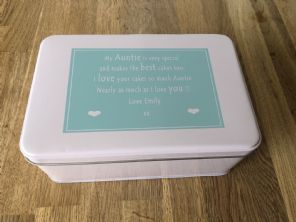 Shabby Personalised chic AUNTIE AUNTY AUNT Cake Biscuit Tin gift ANY NAME Baker - 253889162099